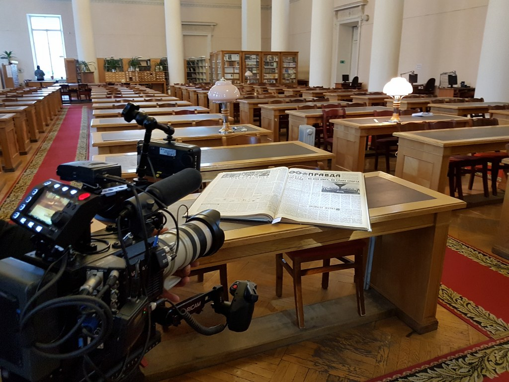 Filming in an archive